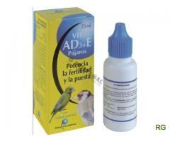 Vitamina a d3+e papagaio, canario, piriquito, arara, agaporne, roseicoller, caturra